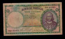 PORTUGAL  20 ESCUDOS 1954 TRP  PICK # 153a  FINE.