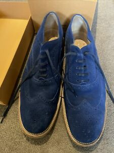 Tods Mens Shoes Blue Suede Brogues Size 10