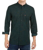 Levi's Mens Shirt Dark Green Size Large L Floral Printed Button-Down $49 #175