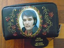"NEW "" ELVIS PRESLEY "" IMAGE  PICTURE  BLACK LEATHER  PURSE/WALLET"