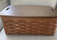 2012 Longaberger Large Storage Basket Combo Wood Lid & Protector Rich Brown
