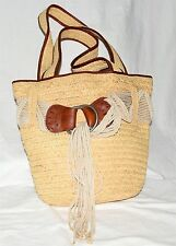 Ralph Lauren Polo Natural Straw Leather w/ Rope Tassel Beach Shoulder Tote Bag