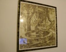 Vintage By Vincent van Gogh Woodcut The Fountain at Arles PRINT Framed 21x20inch
