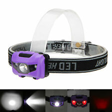 Mini 600LM 3x R4+2 RED LED Head Torch Light Headlamp Headlight 4 Mode Purple