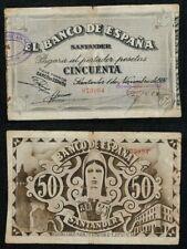 Banco de España SANTANDER. 50 Pesetas año 1936. ESCASO BILLETE. Nº 073994.