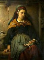 Nice Oil painting Émile Auguste Hublin - The orphan young girl Hand painted
