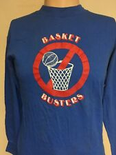 VTG 80s HANES BASKET BUSTERS LONG SLEEVE GRAPHIC T SHIRT Royal Blue USA MADE S