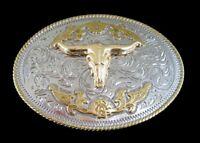 Two Toned Gold Silver Longhorn Steer Bull Western Belt Buckle Boucle de Ceinture