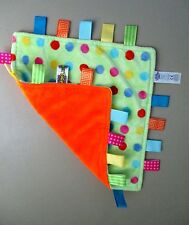 TAGGIES ORANGE GREEN CIRCLES DoTS BaBy SeCuRiTy LoVeY