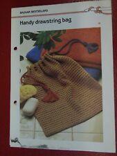 Handy Drawstring Bag crochet PATTERN INSTRUCTIONS FREE SHIPPING