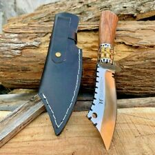 Wharncliffe Knife Fixed Blade Hunting Wild Tactical Combat Handmade Wood Handle