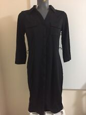 TALBOTS Belted Shirt-style Black Dress Size PS Polyester/Spandex Blend NWT