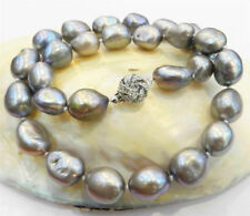 REAL HUGE AAA 9-10MM SOUTH SEA GRAY NATURAL BAROQUE PEARL NECKLACE 18''