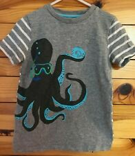Mini Boden Octopus Shirt Boys Gray Solid Front Striped Sleeves & Back Top  6-7Y