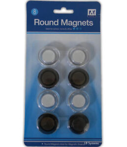 Round Magnets 8 Pack Fridge Notes Hanging Magnetic Notice Board Metal Office