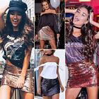 Women Sequin Stretch High Waist Short Bodycon Mini Skirt Pencil Dress Vogue
