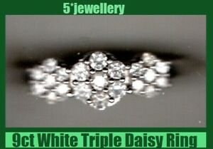 new 9ct white gold diamond daisy triology ring Real new not for scrap