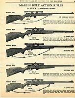 1964 Print Ad of Marlin Model 980 81-C 81-DL 80-C 80-DL Bolt Action Rifle
