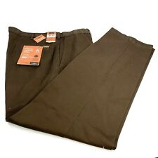 HAGGAR Mens Work to Weekend Flat Front Expandable Waist Khaki 40W x 32L **NWT