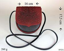 Damen Tasche Umhängetasche Schultertasche Dunkelrot Schwarz 100% Kalbleder