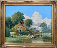 """Oil Painting """"DUTCH FARM"""", IMPASTO OIL ON CANVAS by MAY BETZ; 1951 - FRAMED"""