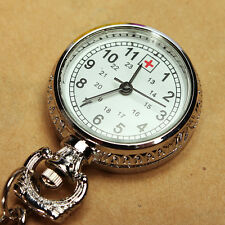 Large Face Nurses Pocket Fob Watch on a Bar with Brooch Chain Back Silver Color