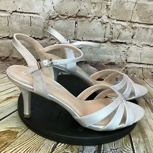 Paradox London Pink Silver Open Toe Ankle Strap Formal Heels Size 9