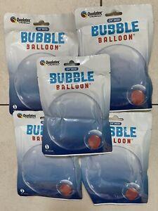 "5x Deco Bubbles 24"" Clear Balloon Qualatex"