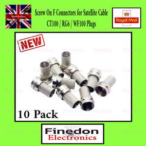 10 Pack F CONNECTOR SCREW ON PLUG SATELLITE SKY VIRGIN  RG6 CABLE