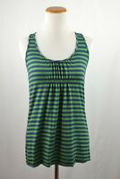 Anthropologie Little Yellow Button Blue Green Rushing Striped Tank Top Size XS