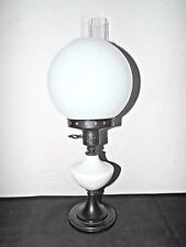"""GONE WITH THE WIND A 20""""H VINTAGE GLOBED MILK-GLASS & METAL HURRICANE LAMP"""