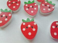 """10 Red Strawberry Buttons 20mm (3/4"""") Wood Fruit Sewing Buttons, Kids Clothing"""