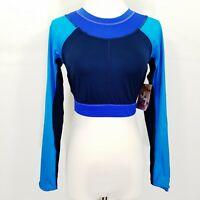 JoyLab Women's Color Block Long Sleeve Crop Top  XL  Blue NWT