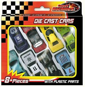 Die Cast Metal Toy Cars Set 8 Piece Play Mini Childrens Racing Gift For Garage