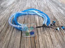 Blue Glass Seed Beads Leather Wrap Multistrand Beaded Fashion Bracelet