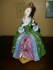 """Rare Vint 00004000 age Dresden 10.5"""" tall Lady Holding Mirror Figure"""