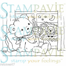 Stampavie ALL WARM INSIDE Penny Johnson Clear Stamp Christmas Bear Owl Window