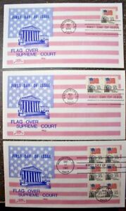 3 FDC Colonial Cachet FLAG OVER SUPREME COURT #1894 #1895 #1896a 1981 Booklet
