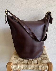 Coach Duffle Feed Sac Bucket Bag 9085 in Dark Brown Leather