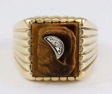 Vintage Dason 10k Gold Roman Soldier Profile Tigers Eye Ring w Round Diamond
