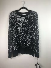 (521) NEW Ava & Viv Animal Print Black Grey Pullover Sweater Plus Size 1X