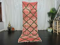 Moroccan Vintage Handmade Runner Rug 2'8x8'6ft Geometric Faded Red Cotton Rug