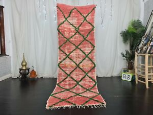 Moroccan Vintage Handmade Runner Rug 2.8x8.6ft Geometric Faded Red Cotton Rug