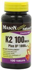 Mason Natural Vitamin K2 Plus D3 Tablets 100 Count