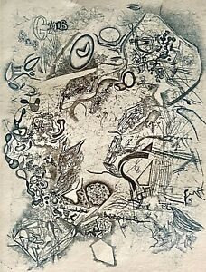 """Signed ALBERT EDGER YERSIN Surreal Abstract Color Etching """"Pour Henri Michaux"""""""