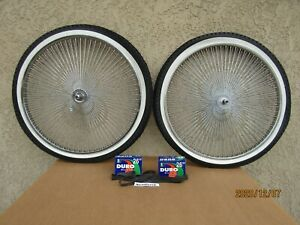 NEW  26'' -140 SPOKES CHROME BICYCLE RIM SET , TIRES ,TUBES & LINERS FOR CRUISER