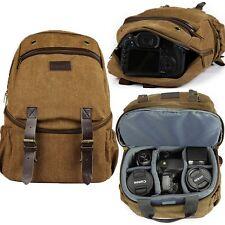 NEW Profession Deluxe Digital DSLR Camera Bag Vintage Backpack Rucksack Packsack