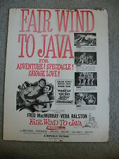Fair Wind to Java Fred McMurray-Vera Ralston Window Card 14X18 movie ""