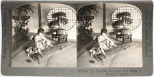 Keystone Stereoview Girl Playing a Koto at Home in JAPAN From RARE 1200 Card Set
