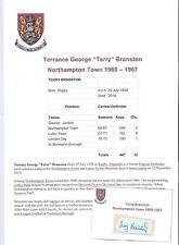 TERRY BRANSTON NORTHAMPTON TOWN 1960-1967 RARE ORIGINAL HAND SIGNED CUTTING/CARD